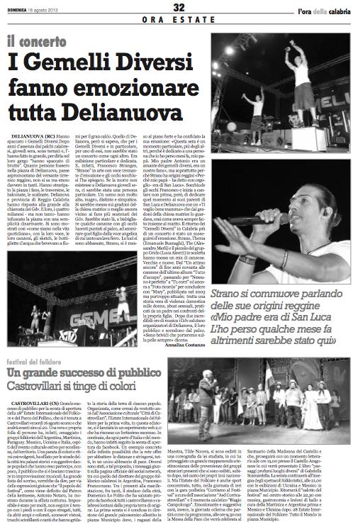 L'Ora della Calabria 18ago2013 Gdv